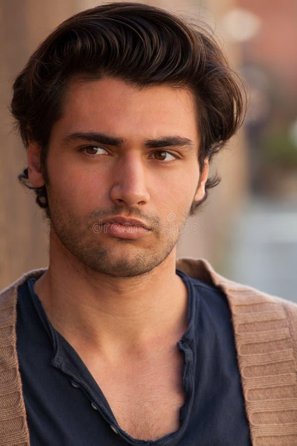 英俊的华美的年轻人模型,意大利发型 库存图片