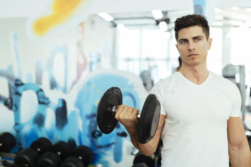 英俊的在健身房的人举的重量 免版税图库摄影