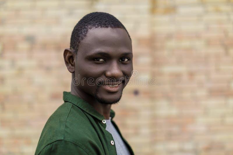 英俊的微笑的非裔美国人的人画象  免版税库存照片