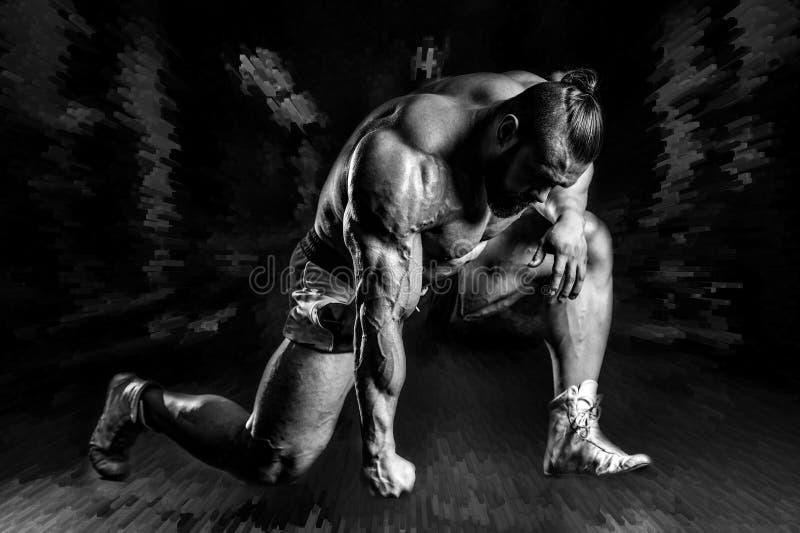 英俊的显示在健身房的适合白种人肌肉人力量 向量例证