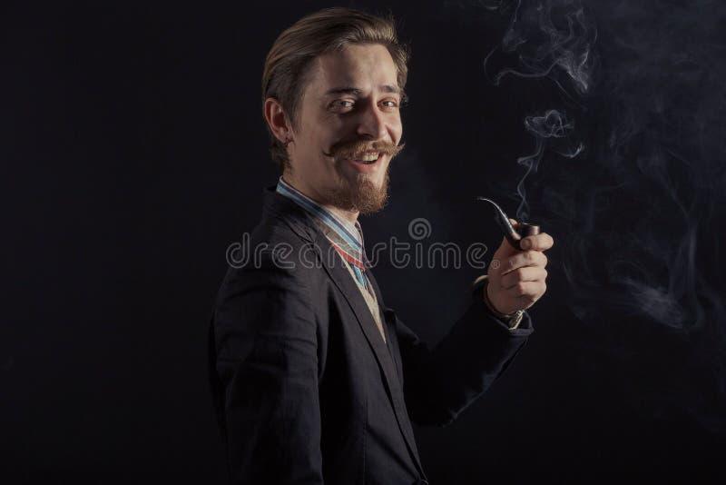英俊的有胡子的时髦的商人 库存照片