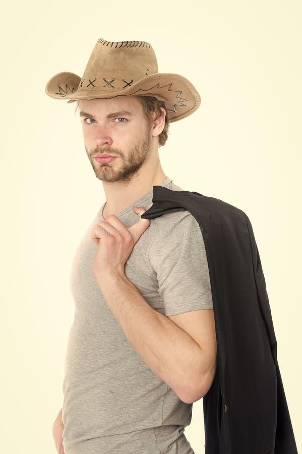 英俊的有胡子的牛仔人、商人或者性感的警察供以人员 库存照片