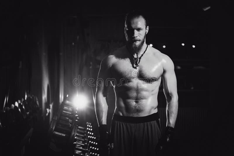 年轻英俊的残酷成人有大肌肉的爱好健美者性感的运动行家人 免版税库存图片