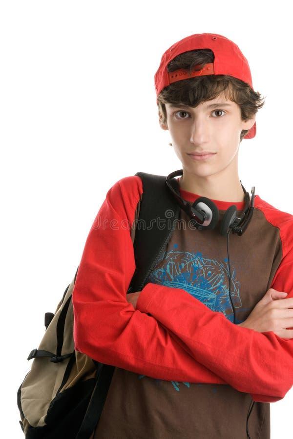 英俊的男小学生 免版税库存照片