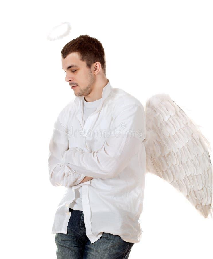 英俊的男性天使。 库存照片