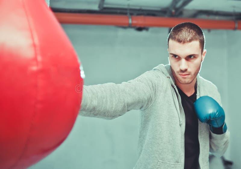 英俊的男性拳击手火车 免版税库存照片
