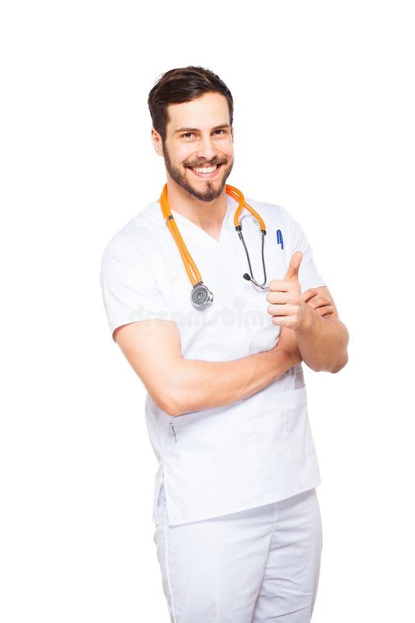 英俊的男性医生被隔绝 库存图片