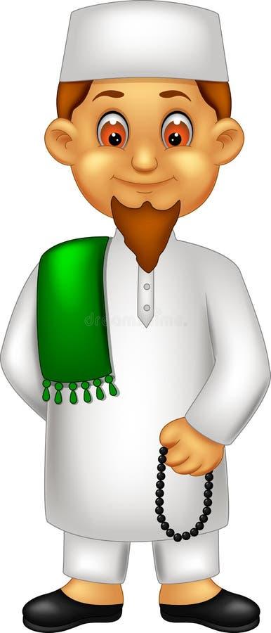 英俊的神父动画片身分带来与微笑的小珠 库存例证