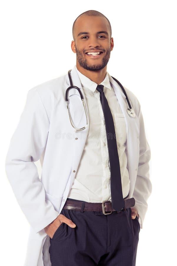 英俊的美国黑人的医生 库存照片