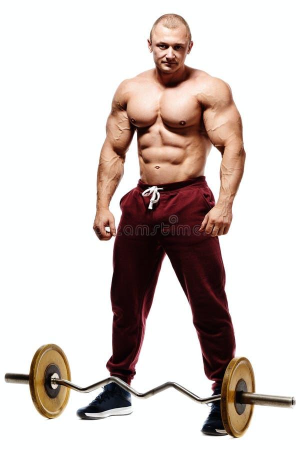 英俊的肌肉爱好健美者为健身训练做准备 免版税库存图片