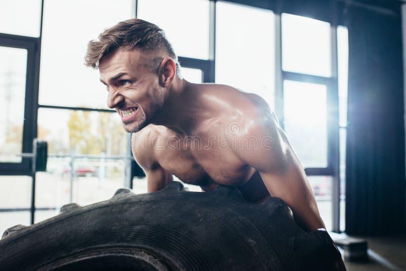 英俊的肌肉运动员举的轮胎和做鬼脸 库存图片