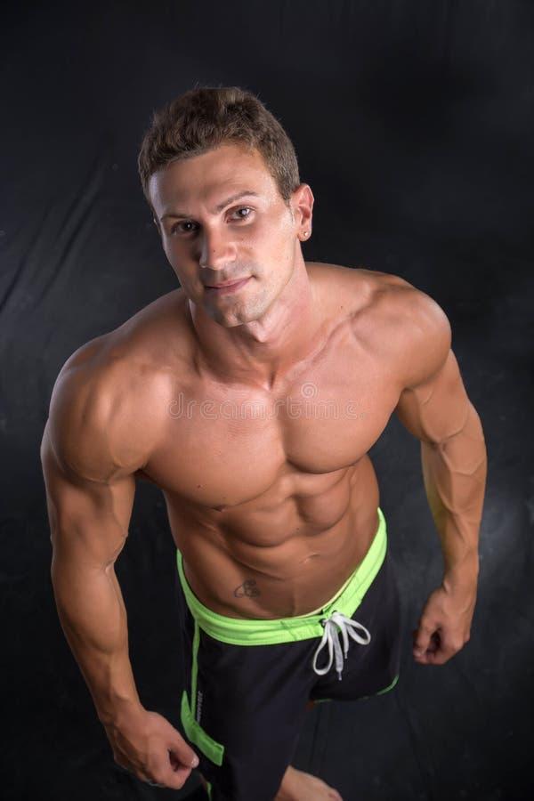英俊的赤裸上身的爱好健美者从上面被击中 库存图片