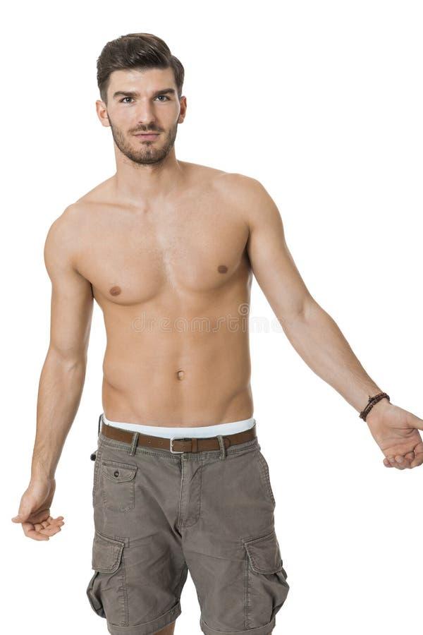 英俊的赤裸上身的赤裸年轻人 库存照片
