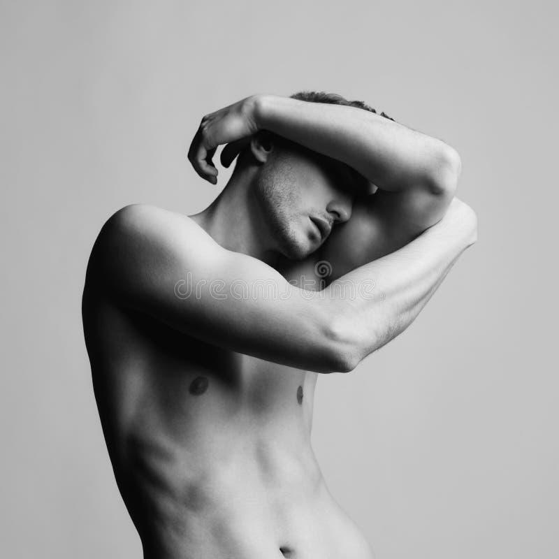 英俊的赤裸男性 库存图片