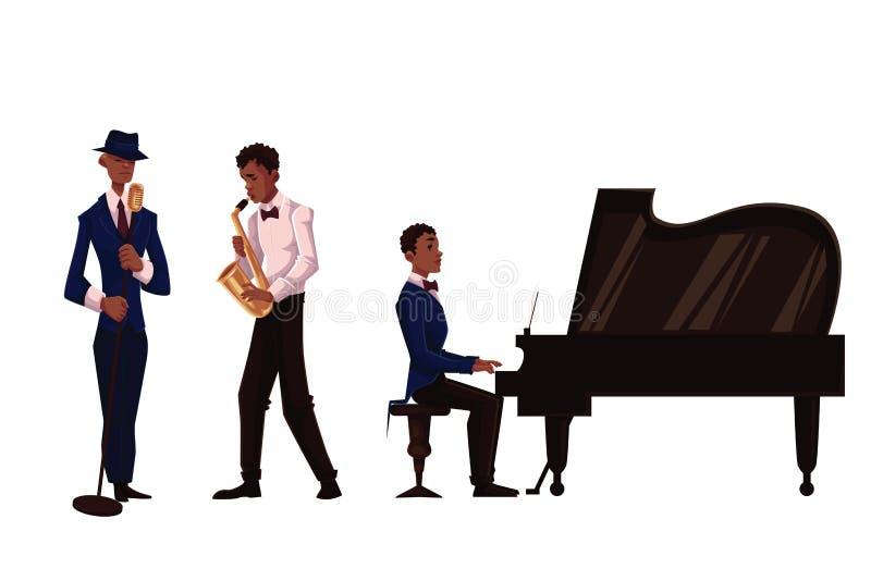 英俊的非洲男性歌手、萨克管演奏员和钢琴演奏家 皇族释放例证