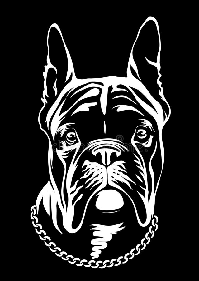 英俊的黑法国牛头犬商标 在黑白色样式的系列 皇族释放例证