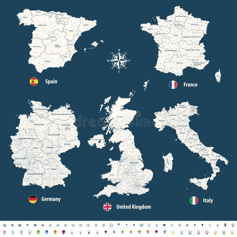 英国、意大利、德国、法国和西班牙的高详细的传染媒介地图有管理部门的 皇族释放例证