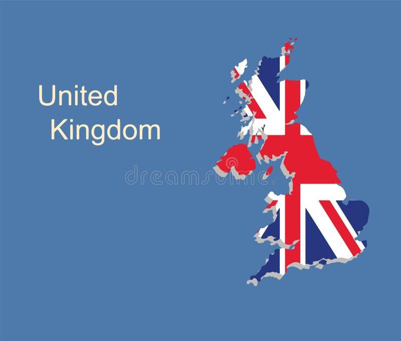 英国与英国旗子的地图传染媒介 皇族释放例证