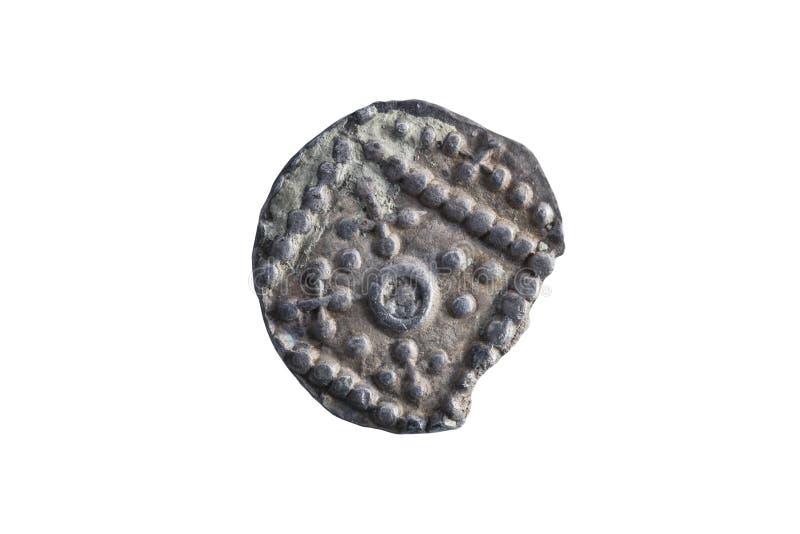 英国人的撒克逊人的银色早期的8世纪的Sceat硬币反面 免版税库存照片