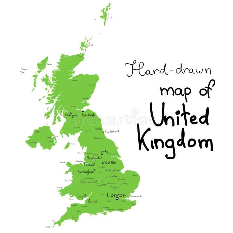 英国传染媒介地图 英国的手拉的传染媒介地图 皇族释放例证