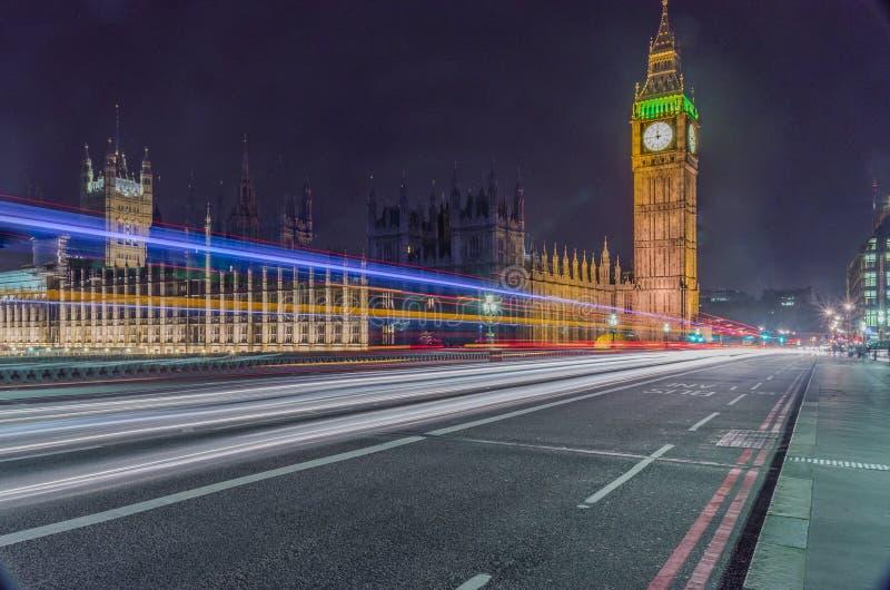 英国伦敦夜间美丽大本钟 库存照片