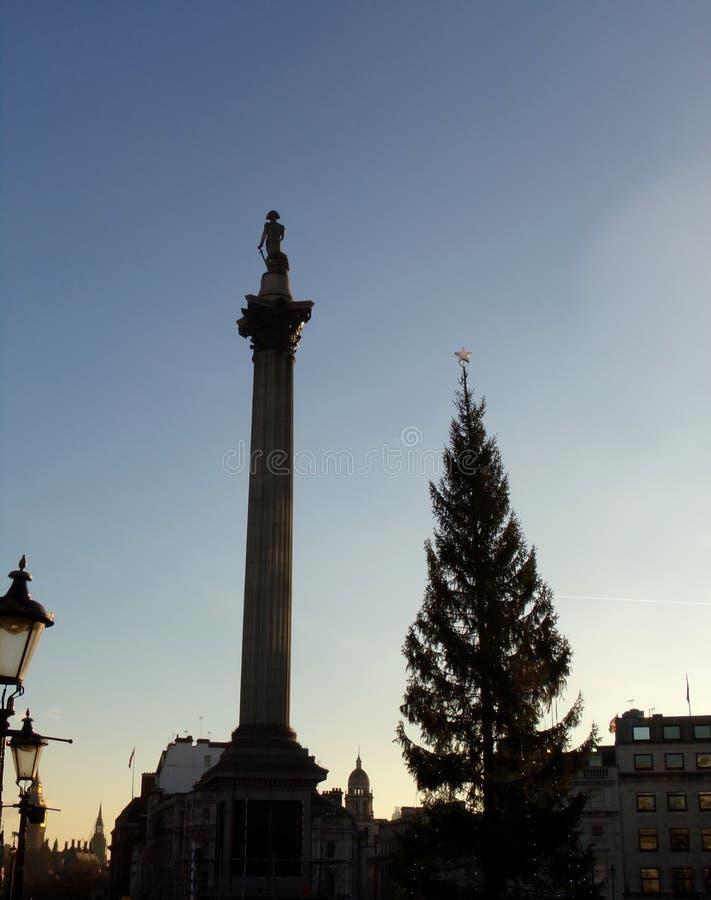英国伦敦特拉法加广场纳尔逊柱国家纪念碑 库存照片
