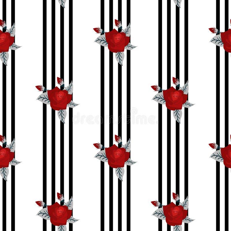 英国兰开斯特家族族徽的美好的无缝的样式在镶边黑白背景的  向量例证