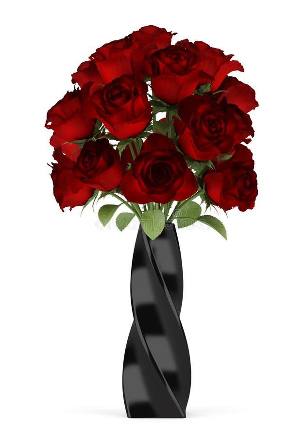 英国兰开斯特家族族徽花束在查出的黑色花瓶的 向量例证