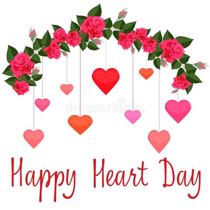 英国兰开斯特家族族徽诗歌选与五颜六色的心脏的 向量例证