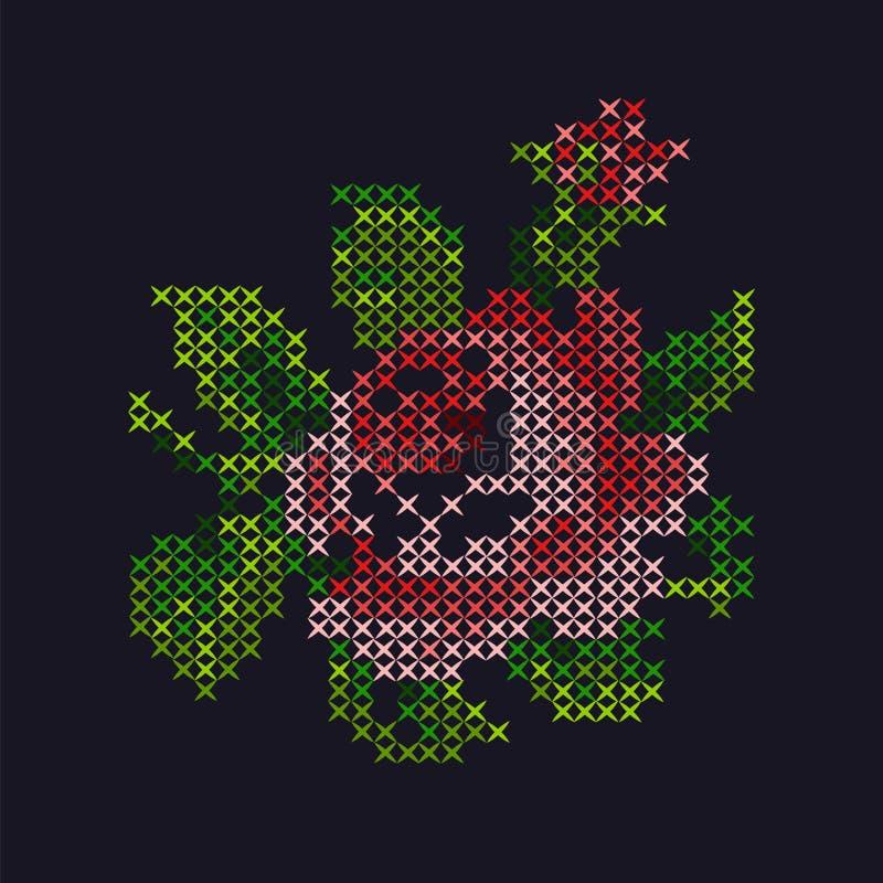 英国兰开斯特家族族徽,十字绣,T恤杉印刷品;发怒针模仿 皇族释放例证