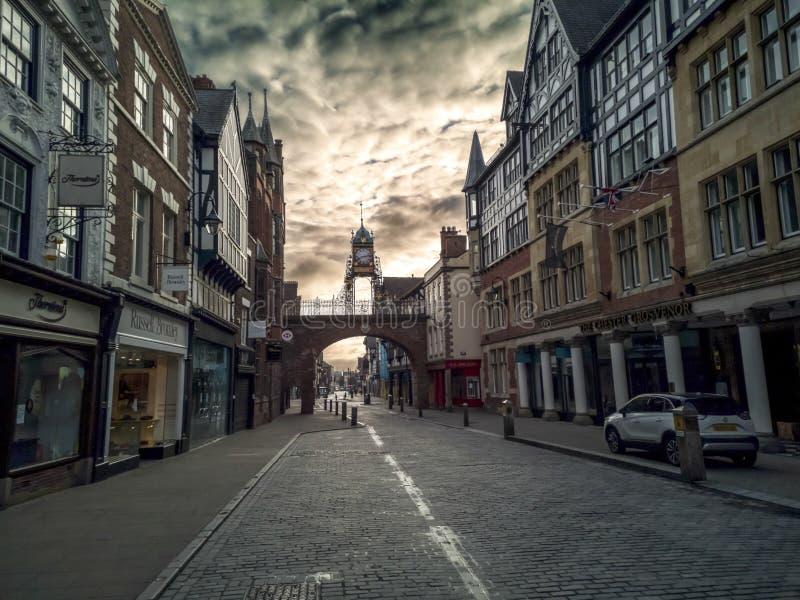 英国切斯特市切斯特街 免版税库存照片