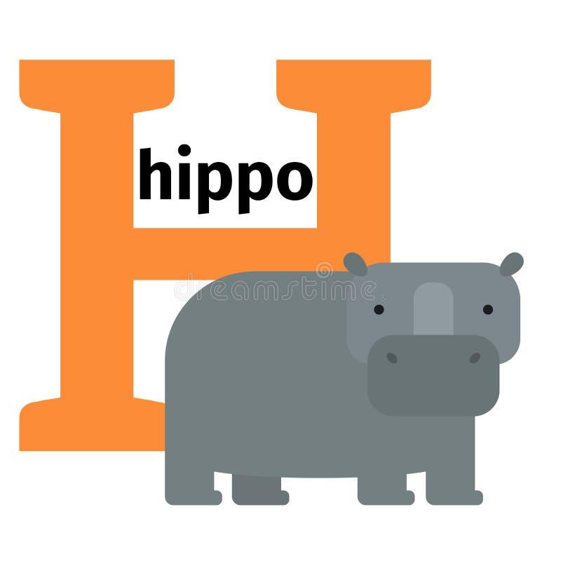 英国动物动物园字母表信件H 库存例证