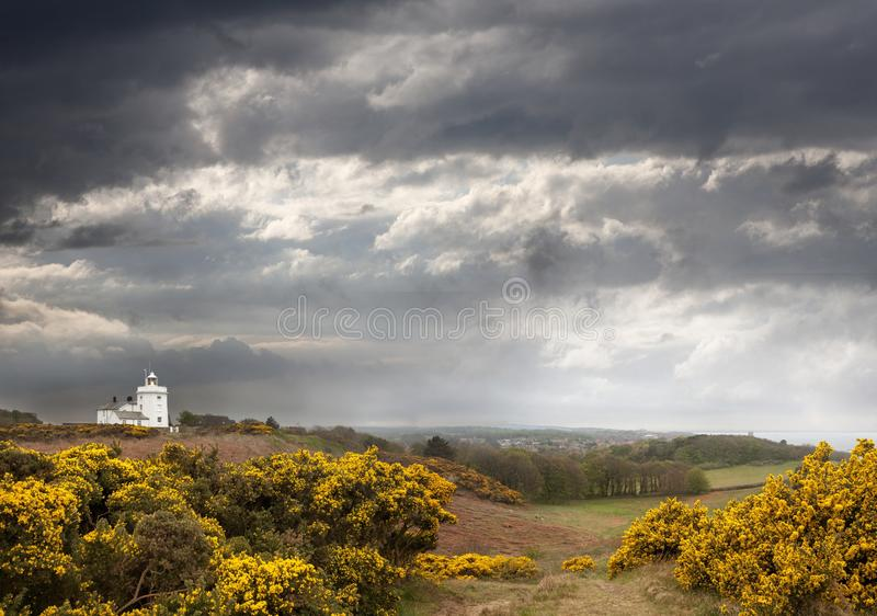 英国北诺福克克罗默灯塔的高角拍摄 免版税库存图片