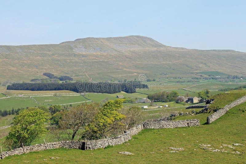 英国北部峰顶三whernside约克夏 库存图片