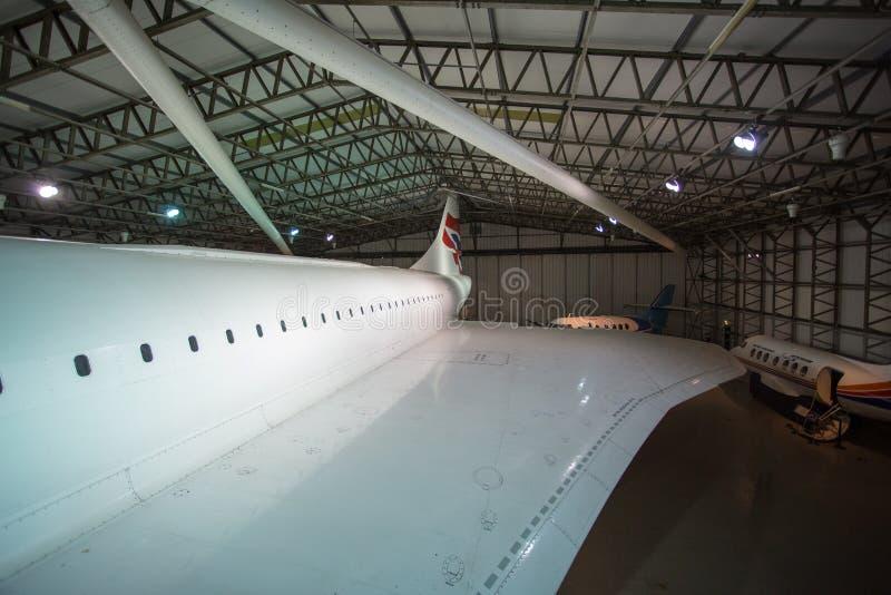 英国协和飞机的翼 免版税库存照片