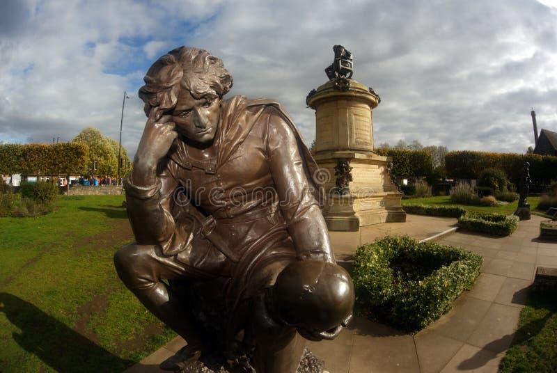 英国史达科特在Avon哈姆雷特雕象 免版税库存照片