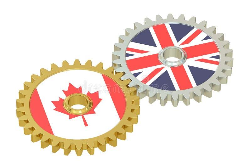 英国和加拿大联系概念,在的旗子齿轮 库存例证