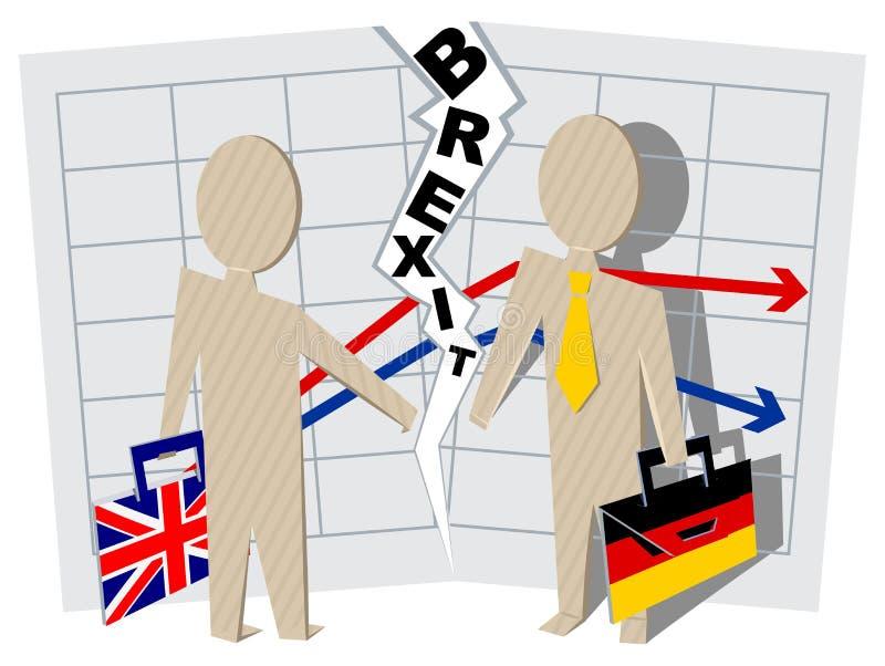 英国和德国Brexit 联系切断在事务的 库存例证
