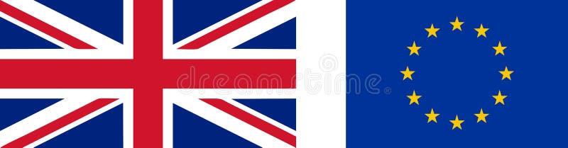 英国和欧盟的旗子 皇族释放例证
