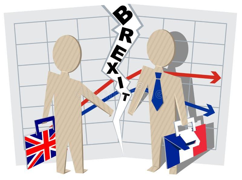 英国和法国Brexit 联系切断在事务的 向量例证