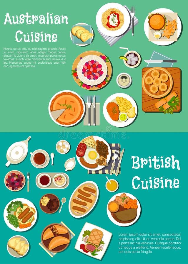 英国和澳大利亚烹调典型的盘  库存例证