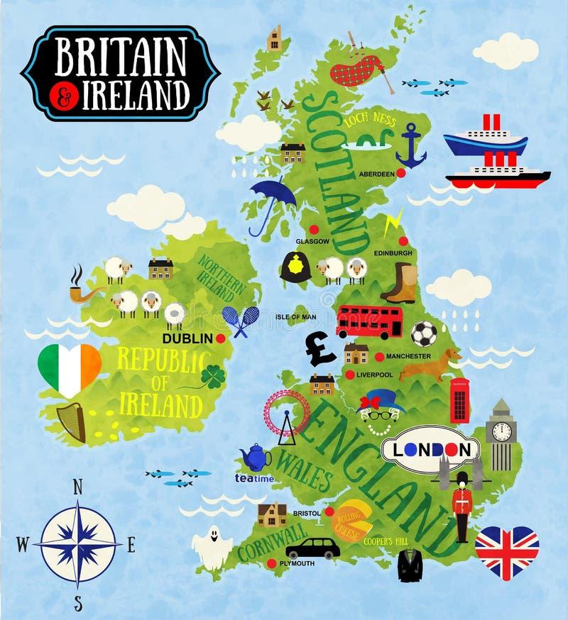 英国和爱尔兰的地图 库存例证