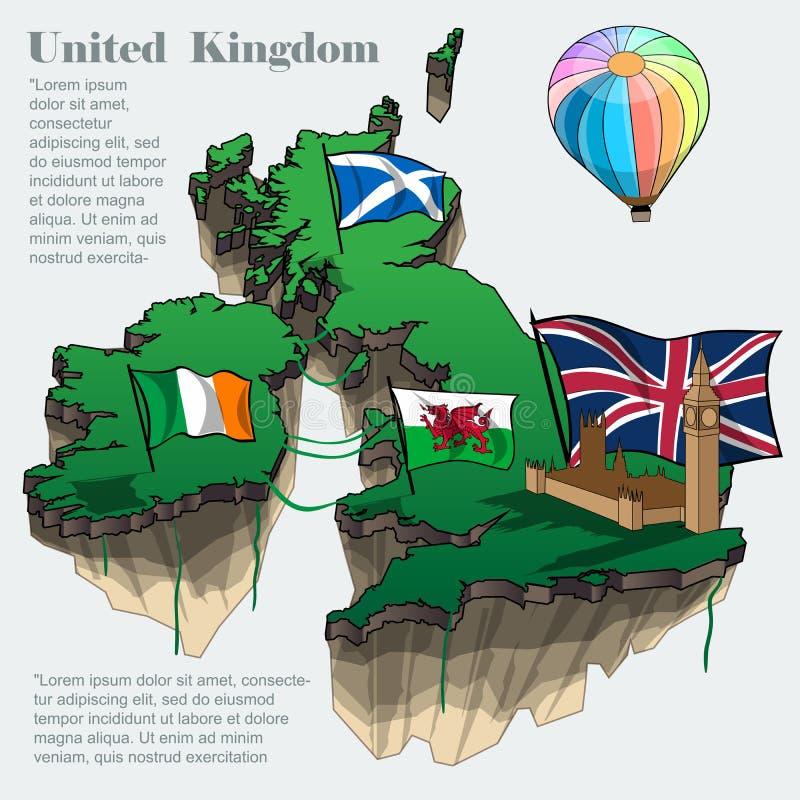 英国国家infographic地图 向量例证