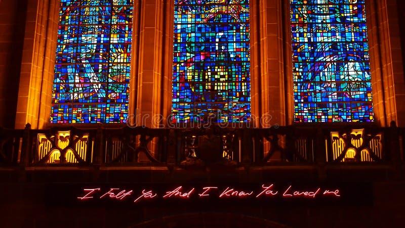 英国国教大教堂的内部,利物浦 免版税图库摄影