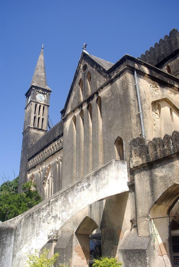 英国国教大教堂石头坦桑尼亚城镇桑&# 免版税库存图片