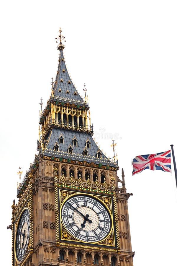 英国国旗和大笨钟 库存照片