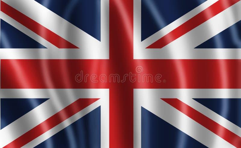 英国国旗或者与波浪的联盟标志 库存例证