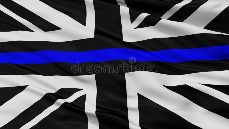 英国国旗稀薄的蓝线旗子,特写镜头视图 向量例证