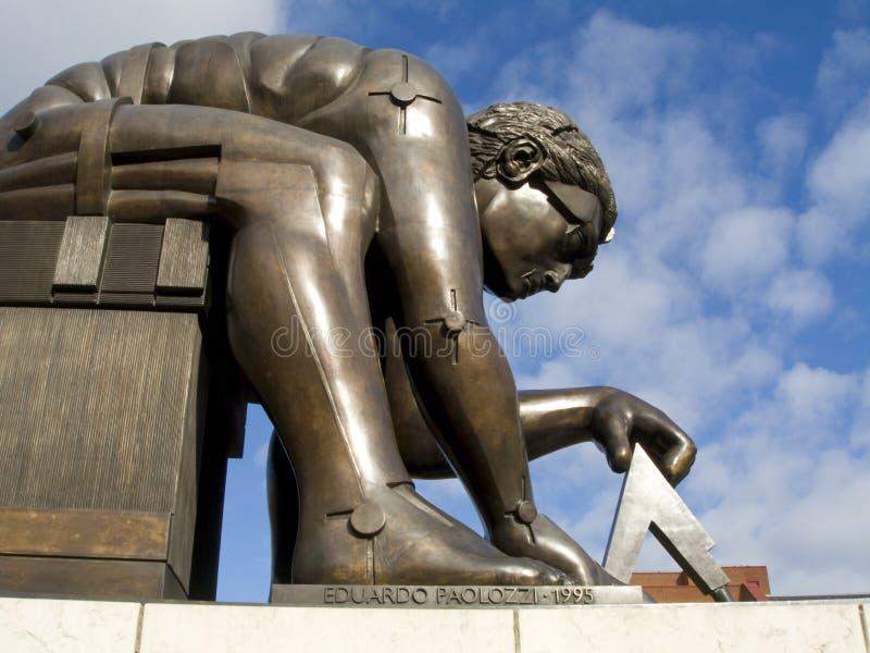 英国图书馆牛顿雕象 图库摄影