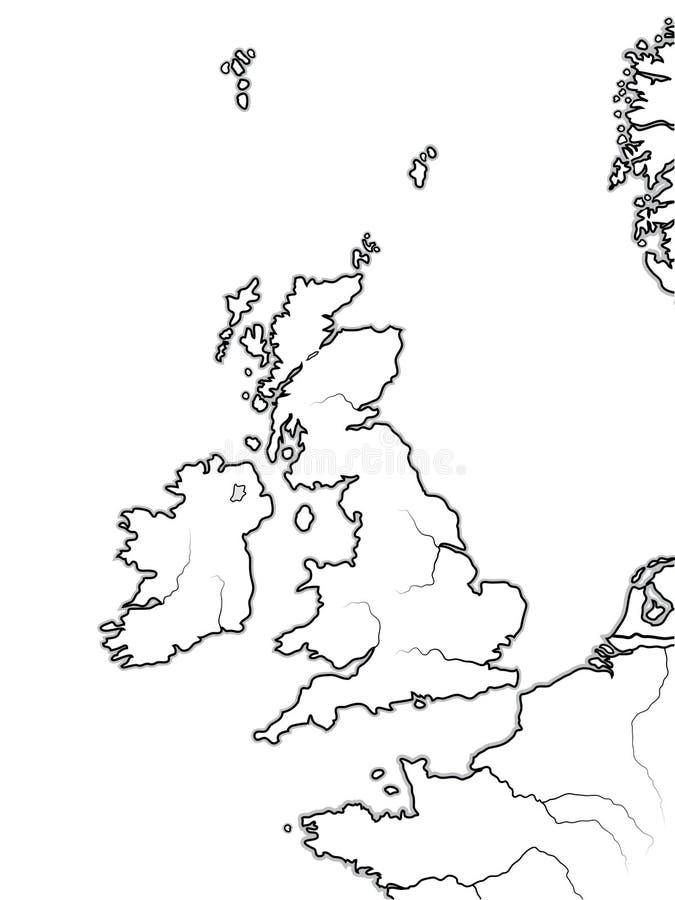 英国土地的地图:英国、英国、英国、苏格兰、威尔士&爱尔兰 地理图 库存例证